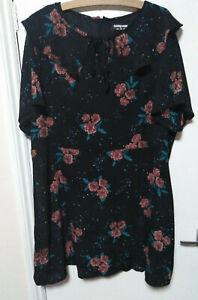 Fashion Union Black Floral Dress Plus Lined Size 22