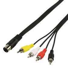 1M - 5 Pin DIN Spina A 4 RCA MASCHIO-ADATTATORE AUDIO PHONO CABLE / lead CCTV Videocamera