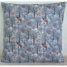 """Cushion Cover Grey Forest Snowy Owl Rabbit Fox Deer Animals 24x24 24"""" Woodland"""
