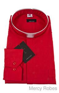 Mens Premium Roman Collar Clergy Shirt (Red), Tonsure, Long Sleeve