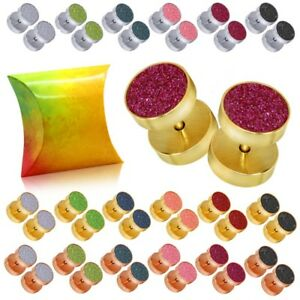 Earring Studs 10mm Fakeplug Ear Plugs Cheater Piercing Glitter Gift-Box Steel