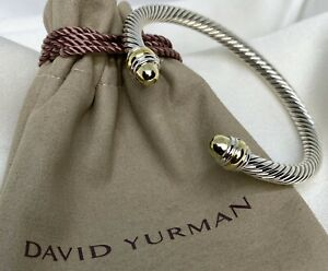 David Yurman Sterling Silver 925 5mm Cable Bangle Bracelet with 14k Gold Dome.