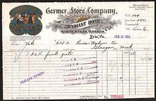 Erie PA 1910 Stoves Ranges Furnaces Germer Store Co Vintage Color Letterhead