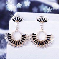 18K White / Yellow Gold Filled Simulated Diamond Agate Fan Chandelier Earrings