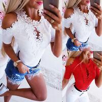 Women's Hollow Out Lace T-shirt Casual Blouse Summer Short Sleeve Tee Shirt Tops