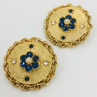 Vintage Flower Disc Clip Earrings Gold Tone Rope Chain Blue Rhinestone Round