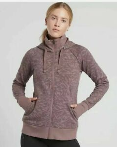 NWT Athleta Triumph Printed Hoodie Jacket,Smoked Almond Brown SIZE Small #511504