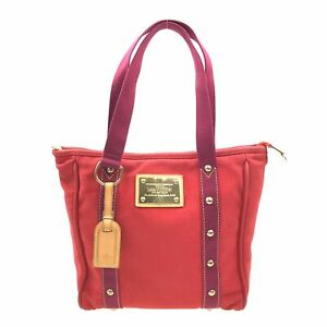 100% Authentic Louis Vuitton Canvas Antigua Cabas MM Red M40034 [Used] {09-0121}