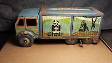 "Vintage   Mettoy   Tin Windup   10"" Bingo's Circus Van   Great Britain   VGood"