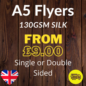 A5 Flyers Full Colour Single or Double Sided 130gsm Silk - 148mm x 210mm