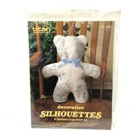 "Vintage 80s Titan Needlecraft Stamped Cross Stitch Kit Silhouettes Bear 16""x9"""