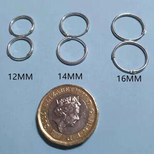 3 Pair Set 925 Sterling Silver Hoop/Loop Hinged Sleeper Earrings 12/14/16mm UK