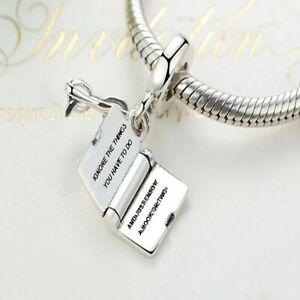 S925 Love Reading Book Bracelet  Charm dangle Glasses Pendant UK STOCK Pandora