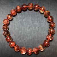 8.5mm Natural Copper Rutilated Quartz Crystal Stretch Beads Bracelet AAAA