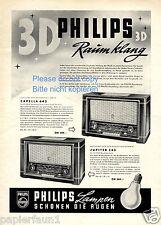 Radio Philips XL Reklame von 1954 Capella 643 Jupiter 543 Werbung 3D Raumklang
