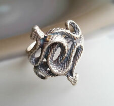 .925 STERLING SILVER INTERWINING SNAKE GENUINE DIAMONDS EYES MEN'S RING