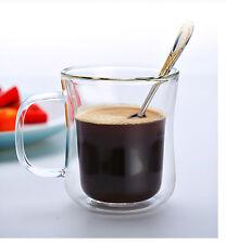 Glass Coffee Mug 200ml Double-wall Waist shaped Drink water floral tea Cup home