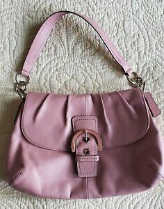 "COACH Leather Handbag, Monogram Buckle, Wx13"", Hx9"", Dx2.5"", Dust Rose"