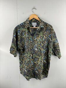 Bruno Men's Vintage Short Sleeve Casual Hawaiian 100% Silk Shirt Size M Green