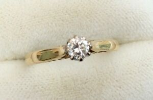 Stunning Ladies Vintage Solid 18Ct Gold Good Sized Diamond Solitaire Ring