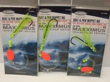 3 FLADEN MAXXIMUS YELLOW BOAT AND PIER MUPPET RIG COD BULL HUSS LING SEA FISHING