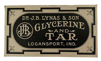 J B Lynas And Son Glycerine And Tar Soap Box New Old Stock Country Store Display