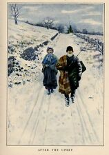 ELDERLY MARRIED COUPLE WALKING SNOW COVERED ROAD FENCE LINE AFTER THE UPSET