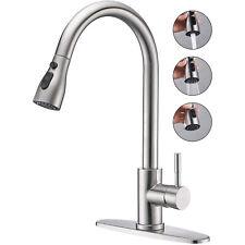 Kitchen Sink Faucet Swivel Spout Deck Mount Single Hole Mixer Tap Brushed Nickel