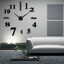 Wanduhr Uhr 3D Wandtattoo Deko Design Spiegel Edelstahl Wand Uhr Groß XXL XL C20