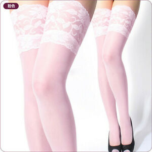 Sexy Lingerie Ultrathin Lace Thigh High Silk Stockings Top Sheer Net Stockings