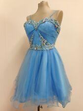 "Gorgeous Sherri Hill dress blue beaded short prom evening US0 XS UK4 32"" B 23""W"