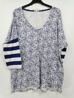 Esprit ladies top 3/4 sleeve white and blue mix size XL