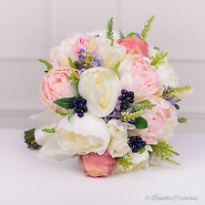 Wedding Flowers in Silk Roses & Peonies, Mixed Country Style Bridal Posy Bouquet