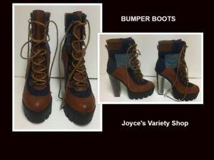 "Bumper Boots 4"" Metallic Heel Jeans & Faux Leather Sz 7 Lace Up"