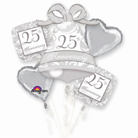 25TH FOIL BALLOON BOUQUET SILVER ANNIVERSARY PARTY DECORATION 25 YEARS BALLOONS