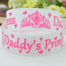 2 meter 9mm 3/8 Daddys Princess Crown Grosgrain print ribbon *3 for 2* UK SELLER