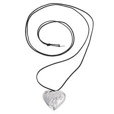 "Rose Silver Plated Heart Pendant Necklace Locket 1.1"" V6L7 Y6H4"