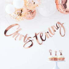 Rose Gold Christening Bunting Banner Boy Girl New Baby Party Decoration Garland