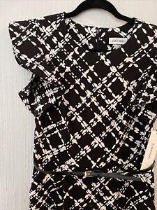 Calvin Klein Size: 8 Ruffle Shoulder Print Wide Leg Jumpsuit Black White
