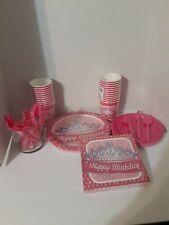 Princess birthday party pack. Pink, dinnerware bundle, party bundle, serves 16.