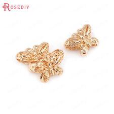 (30754)6PCS 24K Gold Color Brass 3D Butterfly Spacer Bracelet Beads Accessories
