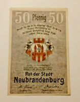 NEUBRANDENBURG REUTERGELD NOTGELD 50 PFENNIG 1922 NOTGELDSCHEIN (10786)