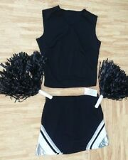 "Adult Black Silver Cheerleader Uniform Top Skirt Poms 32-35/28-29"" Cosplay Goth"