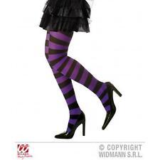 Purple & Black Stripe Hoop Tights Witch Halloween Fancy Dress Striped Pantyhose