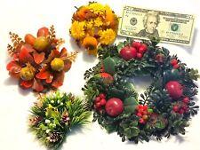Lot=4 VTG Plastic Candle Rings-Autumn Walnuts+Pumpkins+Pine Cones+Apples+Flowers