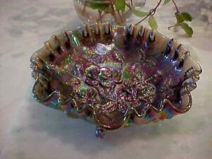 """VINTAGE IMPERIAL ROSE PURPLE GREEN CARNIVAL GLASS RUFFLED FOOTED 8 1/4"""" BOWL NEW"""