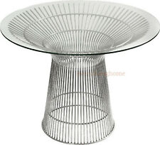 "43"" PLATNER STYLE DINING TABLE GLASS STAINLESS STEEL SPOKE WIRE CONFERENCE"