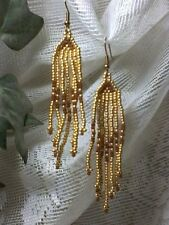 Gold and Brown Seed Bead Earrings A25-17