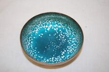 "Vintage Mid-Century Modern LEON STATHAM Turquoise/White Enamel on Copper 4"" Bowl"