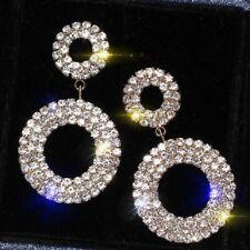 Hoop Diamante Crystal Rhinestone Silver Drop Earrings